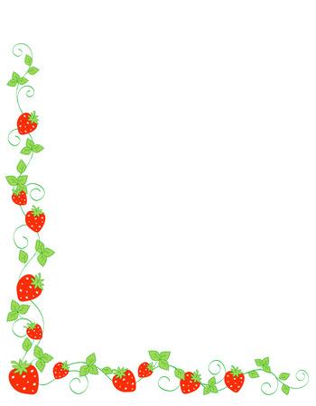 side border: Red strawberries side border  frame