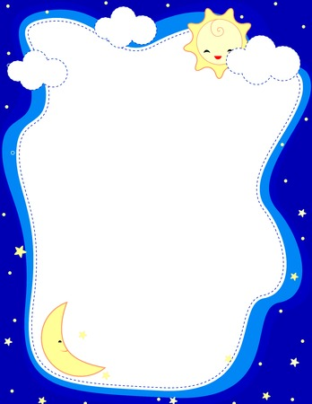 moonshine: Cute sun and moon web site border  frame  background for greeting cards or invitation cards Illustration