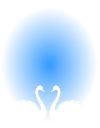 cisnes: Pares blancos del cisne en el amor ilustración aislado sobre fondo azul. Puede utilizar como tarjetas de invitación de la boda, de la boda  diseños relacionados con el amor