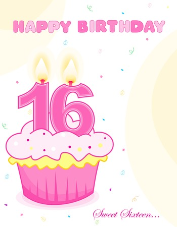 sixteen: Sweet sixteen birthday cup cake with numeral candles isolated on white