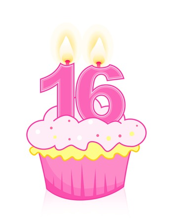 sixteen: Sweet sisteenth birthday celebration cupcake with candle isolated on white Illustration