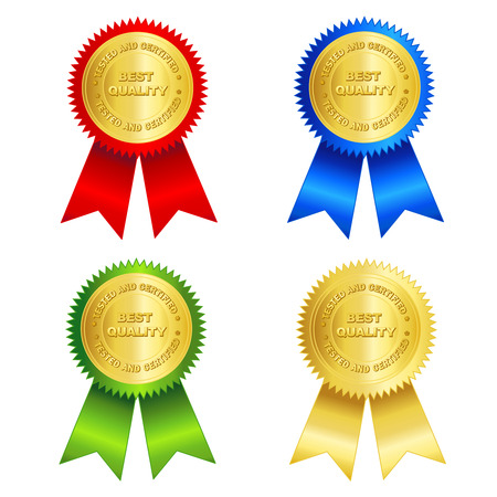 assured: Isolated illustration of a gold tested and certified best quality seal and red , gold , blue and green ribbons.