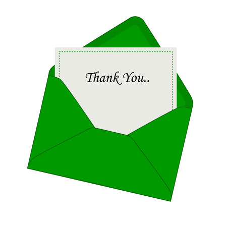 Thank you note coming out from a beautiful green envelope isolated illustration Vector