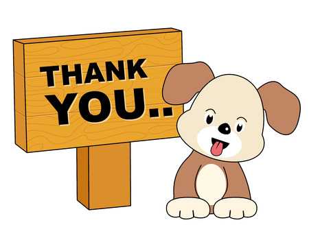 politeness: Thank you card with a cute little puppy and notice board