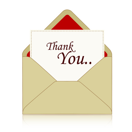 admiration: Thank you note inside an envelope isolated illustration