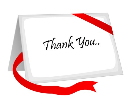 Thank you card with a red ribbon around it