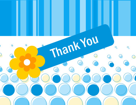 politeness: Colorful blue dotted thank you card with a beautiful flower and retro striped background