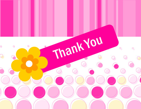 thankfulness: Colorful pink dotted thank you card with a beautiful flower and retro striped background