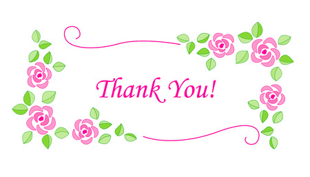 politeness: Beautiful decorative thank you card with pink roses isolated on white background Illustration