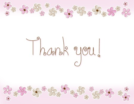 politeness: Beautiful floral thank you card with pink flowers on top and bottom