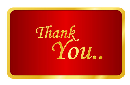manners: Elegant golden thank you note on shiny red background isolated on white Illustration
