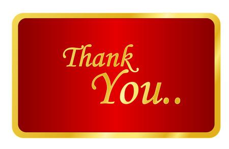 Elegant golden thank you note on shiny red background isolated on white Illustration