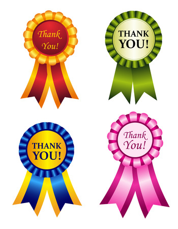 Elegant shiny award ribbon rosettes with thank you note inside. great graphics to make thanksgiving cards Vector
