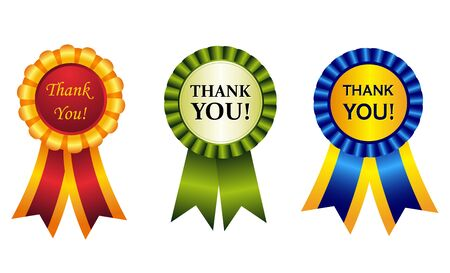 than: Elegant shiny award ribbon rosettes with than you note inside. great graphics to make thankgiving cards