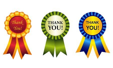 agradecimiento: Rosetas brillantes elegantes Premio cinta con lo que cuenta en su interior. los grandes gráficos para hacer tarjetas thankgiving Vectores