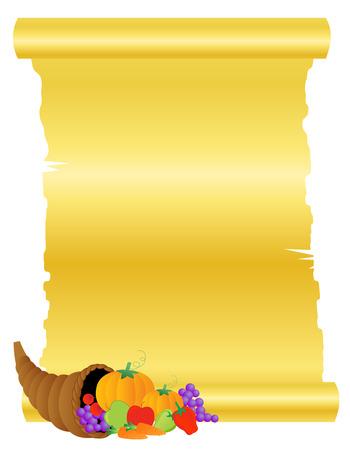 apple border: Illustration of basket of vegetables and fruits with golden scroll paper . thanksgiving background Illustration
