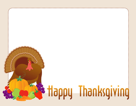horn of plenty: Turkey with fresh vegetables and fruits with happy thanksgiving text borderframe  illustration isolated on white background for thanksgiving card designs Illustration