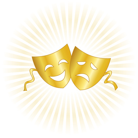 Gold theatrical masks silhouette representing theater comedy and drama over white background