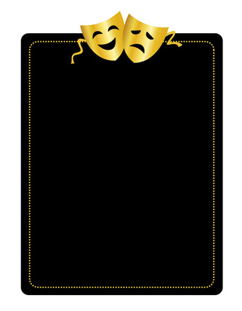 Gold masks silhouette representing theater comedy and drama border / frame Vettoriali