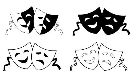 comedy tragedy: Happy and sad theater masks  faces silhouette isolated on white background