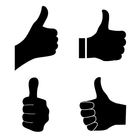 Thumb up silhouette isolated on white background Illustration