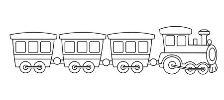 Kids toy train coloring book graphic isolated on white background illustration