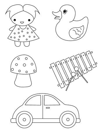 Pre school kinderen kleuren bok pagina  werkblad met mooie lijntekeningen illustraties van speelgoed op een witte achtergrond