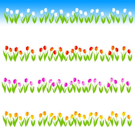 Cute and colorful tulip flowers frame isolated on white background. Illustration