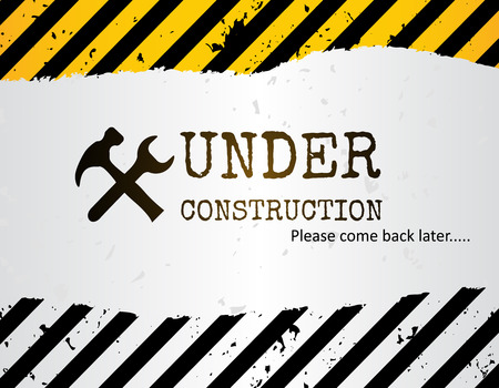 dangerous construction: Grunge under construction background with crossed hammer and wrench.