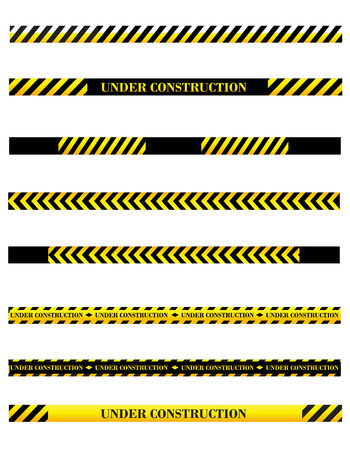 dangerous construction: Under construction sign page divider  tape collection Illustration