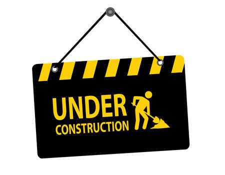建設掲示板は白い背景で隔離の下で掛かるのイラスト  イラスト・ベクター素材