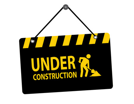 Illustration of hanging under construction notice board isolated on white background Vectores