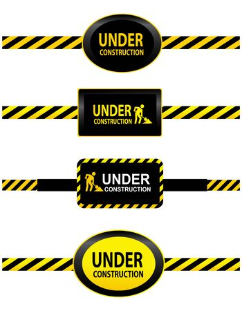 dangerous construction: Four warning tapes with the labels Under construction isolated on white background Illustration