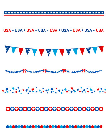 fourth july: Blue and res stars and stripes divider  frame collection on white background