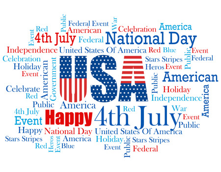 wordcloud: USA 4th of July wordcloud  tagcloud with related words in red and blue