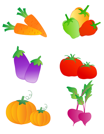 Collection of colorful vegetable illustrations isolated on white background