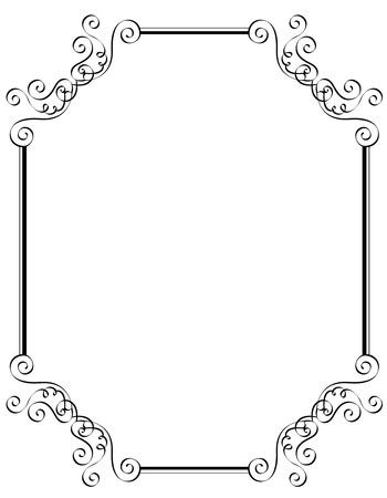 특별히 결혼식  파티 초대 카드 검은 색과 흰색 장식 테두리  프레임 일러스트
