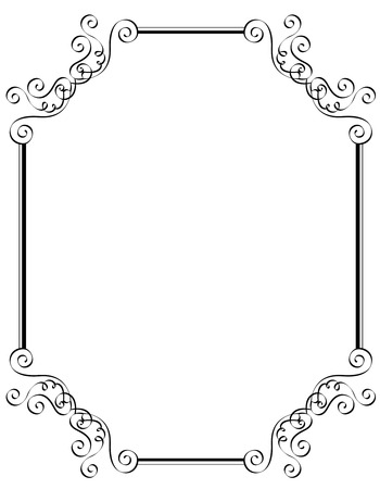 photo edges: Black and white ornamental border  frame specially for wedding  party invitation cards Illustration