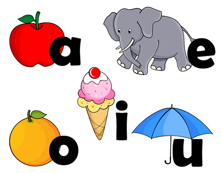 educational material: Vowels of english alphabet with representation pictures.