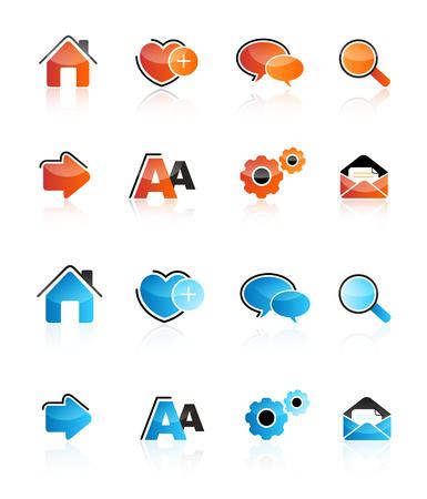 shiney: Collection of professional shiney web icons isolated on white Illustration