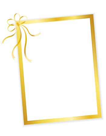 wedlock: Golden ribbon bow with white paper background with golden frame invitation specially for wedding