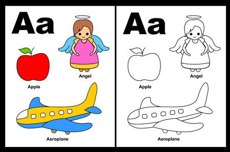 Kids alphabet coloring book page with outlined clip arts to color. Letter A