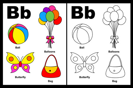 Kids alphabet coloring book page with outlined clip arts to color. Letter B