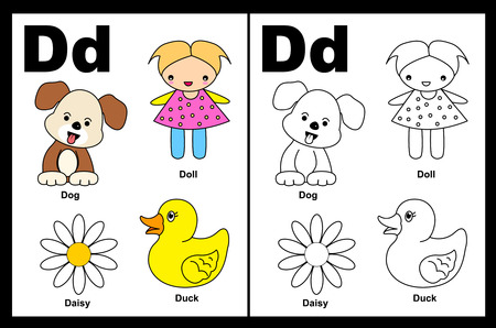 Kids alphabet coloring book page with outlined clip arts to color. Letter D