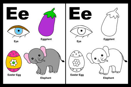 Kids alphabet coloring book page with outlined clip arts to color. Letter E