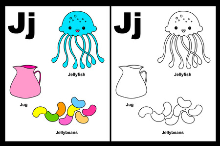 Kids alphabet coloring book page with outlined clip arts to color. Letter J