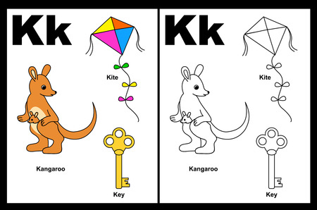 Kids alphabet coloring book page with outlined clip arts to color. Letter K