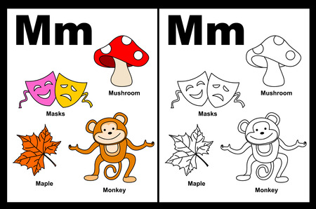 Kids alphabet coloring book page with outlined clip arts to color. Letter M