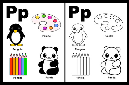 Kids alphabet coloring book page with outlined clip arts to color. Letter P