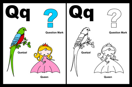 Kids alphabet coloring book page with outlined clip arts to color. Letter Q